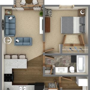 A Unit - One Bedroom (741 Sq. Ft.)