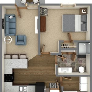 B Unit - One Bedroom (741 Sq. Ft.)