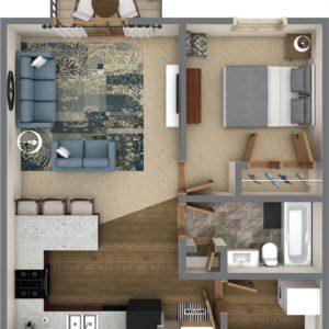 C Unit - One Bedroom (799 Sq. Ft.)