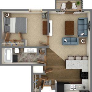 D Unit - One Bedroom (767 Sq. Ft.)