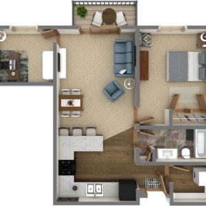 E Unit - 1 Bedroom Den (836 Sq. Ft.)