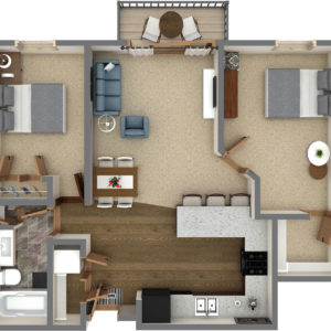 F Unit - Two Bedroom One Bathroom (943 Sq. Ft.)