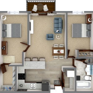 G Unit - Two Bedroom One Bathroom (917 Sq. Ft.)