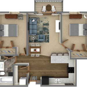 H Unit - Two Bedroom One Bathroom (958 Sq. Ft.)