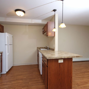 Kitchen, Living & Dining Area