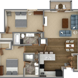 J Unit - Two Bedroom Two Bathroom (1098 Sq. Ft.)